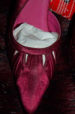 Nuevo 7 Satén obra abierta en Punta Charol Tacones Zapatos oscuro Cerise-Marrón Mezcla De Regalo