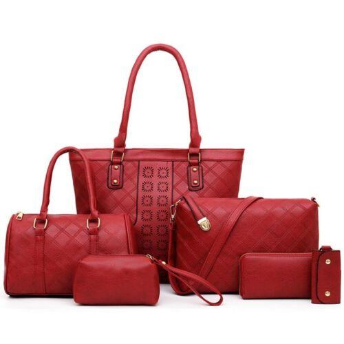 6Pcs//Set Fashion Women Shoulder Bag Leather Purse Tote Handbag Crossbody Bag Lot
