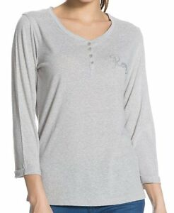 T Long Grey Roxy Sleeve In Heather shirt Henley qtwBwP