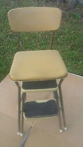 Details about VTG COSCO YELLOW METAL VINYL KITCHEN STEP STOOL CHAIR
