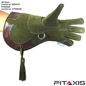 Falconry-Nubuck-Leather-Eagle-Hunting-shooting-birds-hawk-Gloves-16-034-Long-Cuff