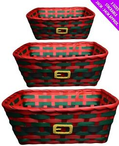 set of 3 traditional christmas stackable wicker baskets picnic laundry hampers ebay. Black Bedroom Furniture Sets. Home Design Ideas