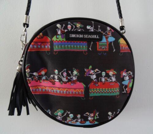 Mexican Skeleton Fiesta Black Round Handbag Candy Skull Bag Horror Day of Dead