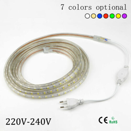 1M LED Strip Light 5050 220V 240V 60leds//m Flexible tape rope Waterproof SMD
