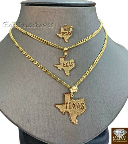 24 Inch 22 10k Gold Solid Texas Map Charm Pendant with Miami Cuban Chain in 20