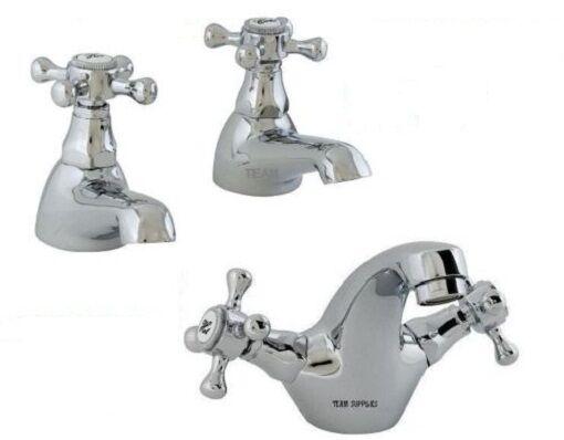 Victorian Victoria Duke Chrome bain Robinets Paire & BASSIN MONO mixer tap Set