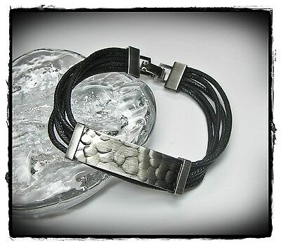 2019 Neuer Stil Neu 19cm Armband Kordelarmband Armschmuck 5-reihig In Schwarz/antik Silberfarben Gesundheit FöRdern Und Krankheiten Heilen