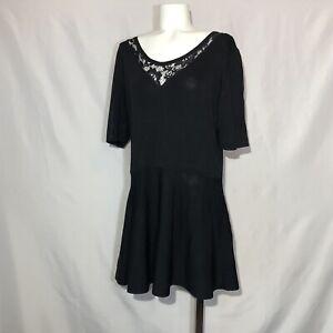 Lane-Bryant-Black-Shortsleeve-Ribbed-Sweater-Dress-18-20