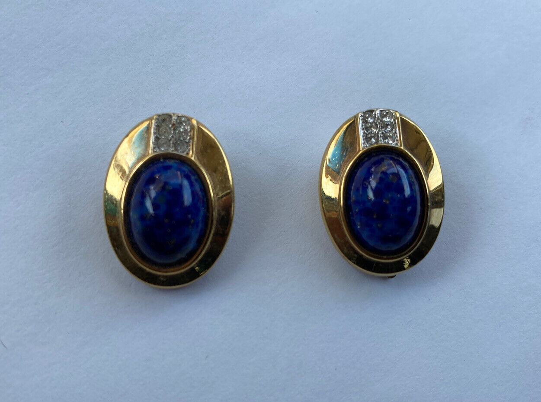 VINTAGE LANVIN CABOCHON EARRINGS BLUE STONE GOLD … - image 2