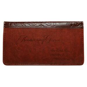 Amazing Grace Checkbook Cover Brown faux Leather BRAND NEW