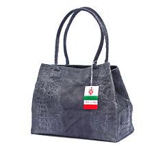 Made in Italy XL Ledershopper echt Leder grau Kroko Schultertasche Shopper