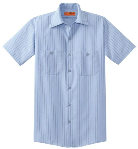 WICKING INDUSTRIAL WORK SHIRT S-6XL MEN/'S STRIPED RESISTS STAINS SHORT // LONG