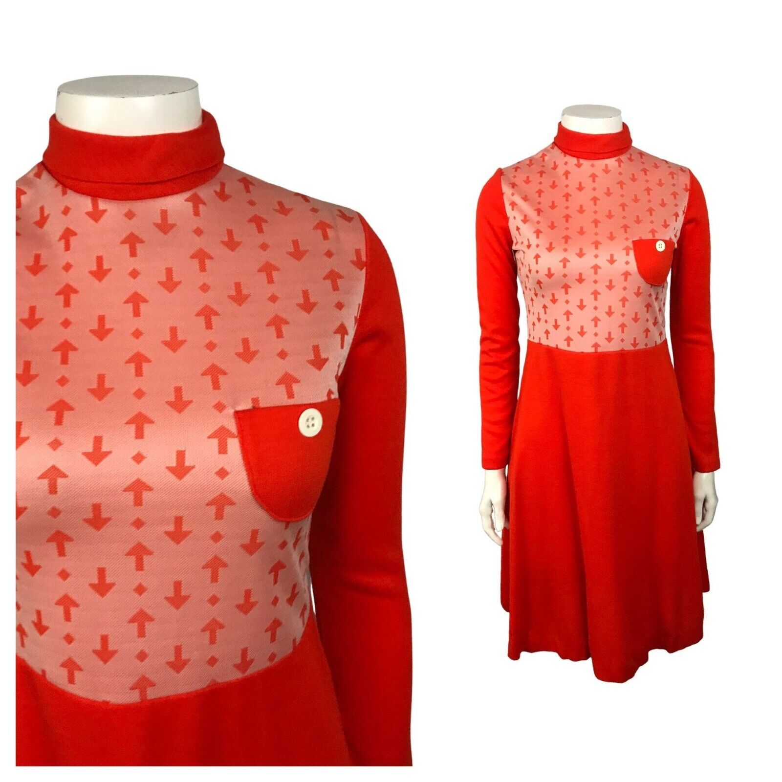 1960s Novelty Print Mod Dress / Orange Arrow Print Dress Long Sleeve / XS