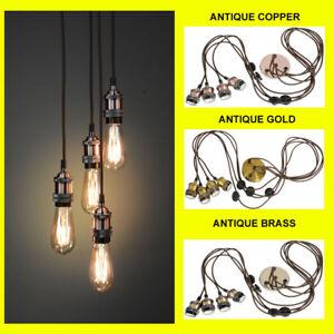 Modern-Retro-Industrial-Pendant-E27-Ceiling-Light-Lamp-Cluster-7-Colours-NEW