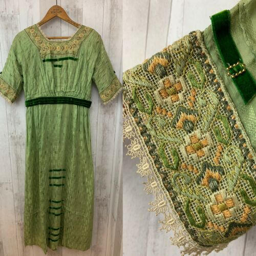 1900s Antique Edwardian Green Silk Brocade Paul Po
