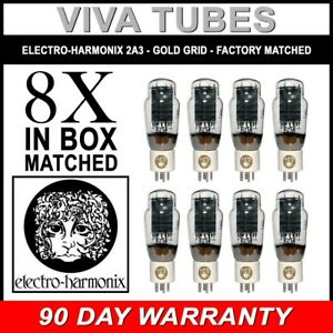 New-Ip-amp-Gm-Factory-Matched-Octet-8-Electro-Harmonix-2A3-Gold-Grid-Tubes