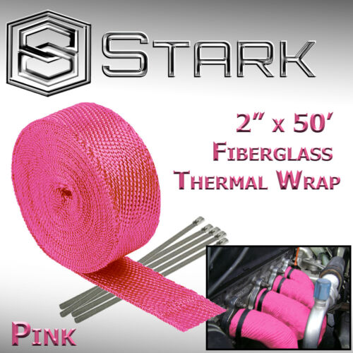 """Pink 2/"""" x 50FT Exhaust Header Fiberglass Heat Wrap Tape w// 5 Steel Ties VW"""
