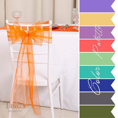 "8""x108"" 100pcs Organza Chair Sash Wedding Party Banquet Venue Decor 25+ Colors"