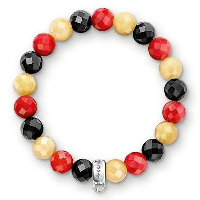 X0195 New genuine Thomas Sabo Red //Black //Yellow Beads Charm Club Bracelet £39