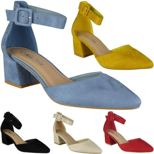 Womens Ankle Strap Shoes Ladies Faux Suede Buckle Chunky Low Heel Sandals Size