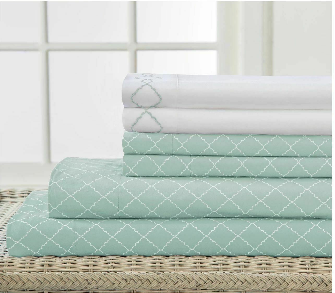 Queen Size Bed Sheet Sets Microfiber Embroider Green White Diamond Print 4 Piece