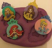 Princess Cameo Silicone Mould ( Topper. Crafts.disney.cupcake.mold.cinderella