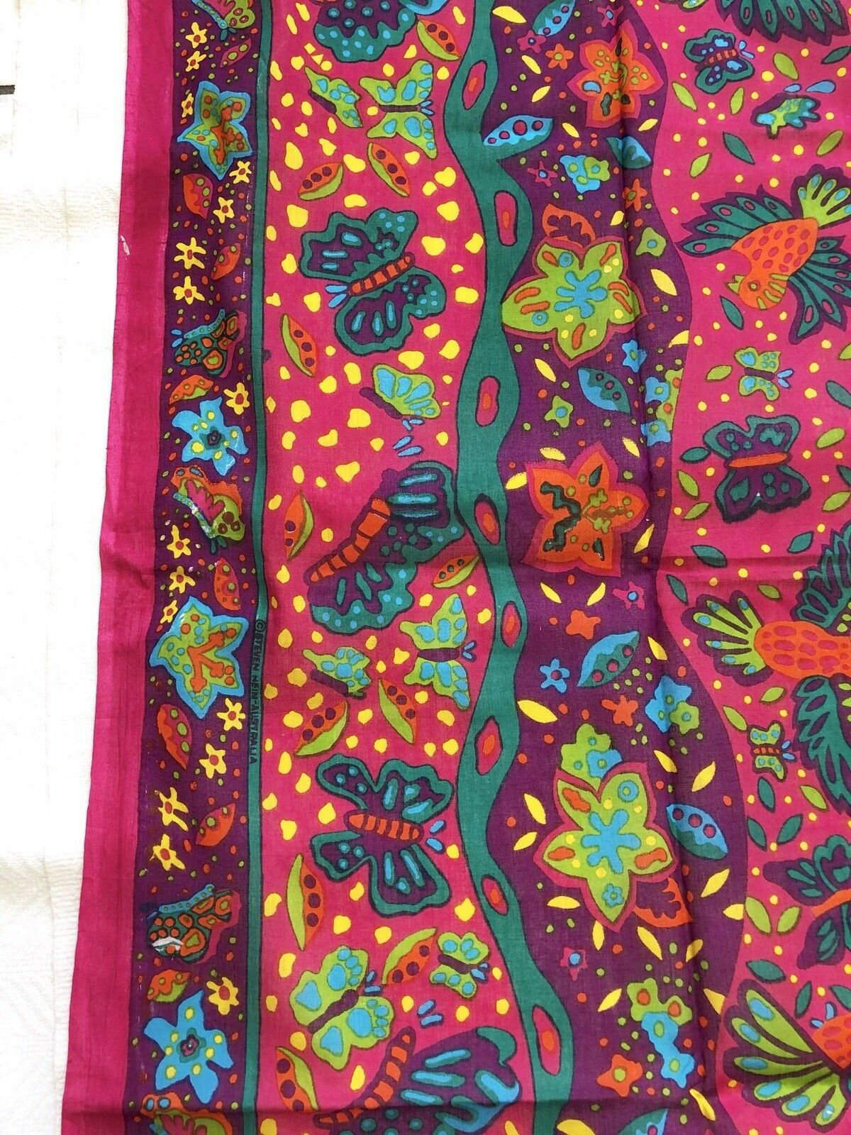 Brightly Colored Pareo With Flower and Butterfly Print EUC