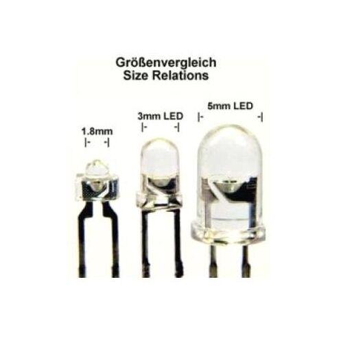 led 1,8 mm mini Leuchtdiode 100 Superhelle orange Leds 1,8mm 2.500 mcd