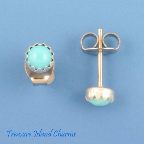 Turquoise Stone Dot 4mm .925 Sterling Silver Stud Post Earrings Bezel Setting