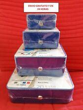 Caja de caudales metálica,caja fuerte con llave y bandeja AZUL ENVIO24H