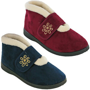 Womens-Warm-Winter-Slippers-Cushion-Walk-Wide-V-Fit-Touch-Fasten-Strap-UK-4-8