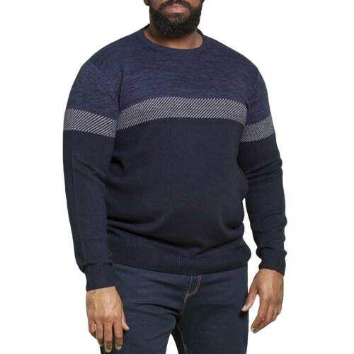 Duke D555 Mens Corby Big Tall Kingsize Crew Neck Colourblock Sweater Jumper Top