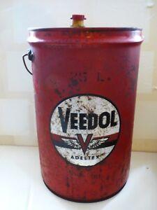 ° Adeltex Veedol Bidon Ancien Seau En Tôle Vintage Oil & Grease Can 25 L Öldose Techniques Modernes