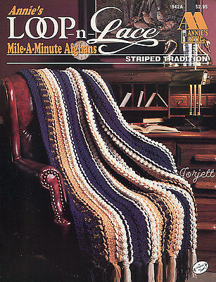 Striped Tradition Afghan, Annie's Loop-n-Lace Mile-A-Minute crochet pattern