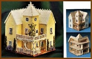 Dollhouse-Miniature-Small-1-144-Scale-Victorian-Mansion-Kit-by-Laser-Tech-Wood