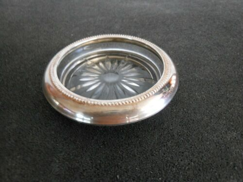 bin 21 Vtg B I Sterling Silver With Beaded Rim Glass Coasters Starburst Design