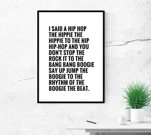 poster Home wall art Rappers Delight Hip Hop lyrics wall art print
