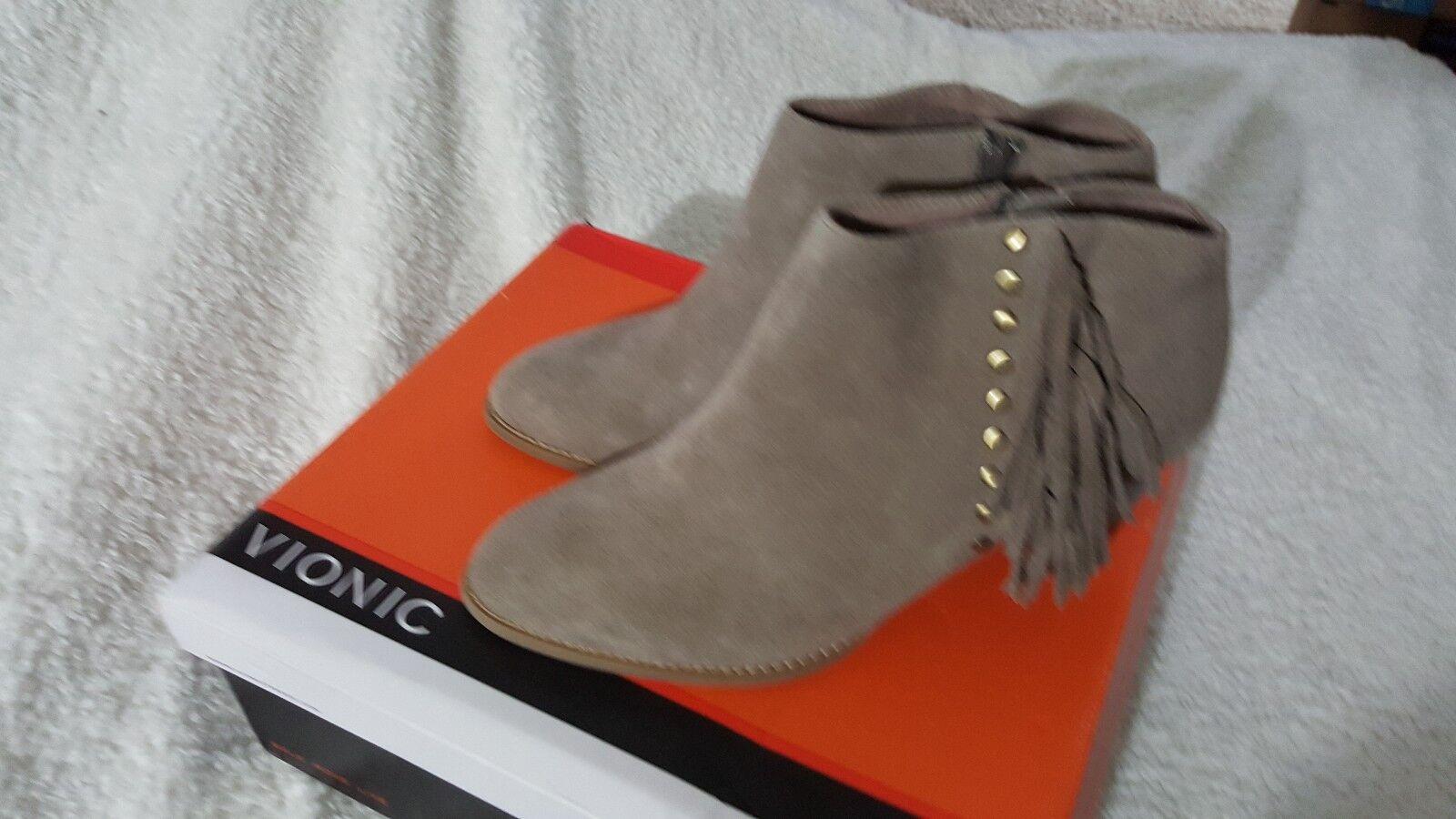 Vionic Tan Beige Suede Studs Fringe Fringe Fringe Ankle Boots - Faros Sz 9.5w Ret  159 CUTE 65529b