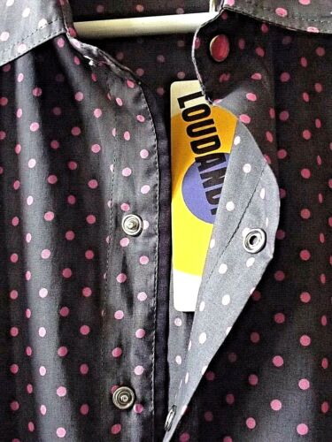 Man Long Sleeves Fitted Shirt in Pure Cotton GRAY and PINK polka  dots Pattern