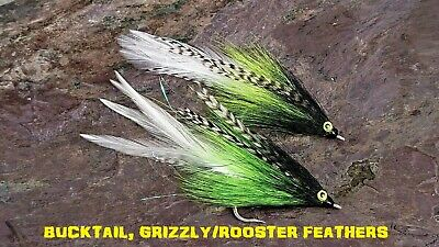 2 X Musky Pike Flies 12cm 5//0 Fly Fishing Freshwater Streamer Bucktail epoxy