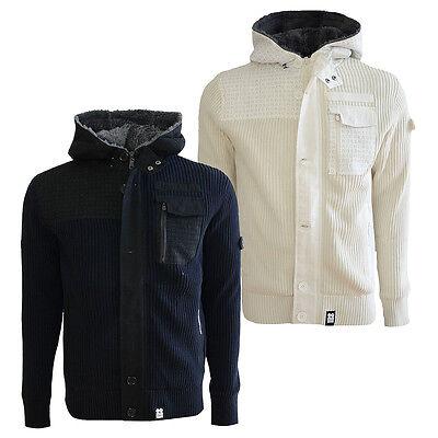 Men,s Crosshatch Designer Heavy Knitted Zip Up Cardigan Jacket With Fleece Hood üPpiges Design