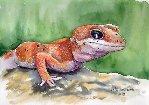 Orange-Gecko-original-watercolor-animal-painting-garden-reptile-pet-art