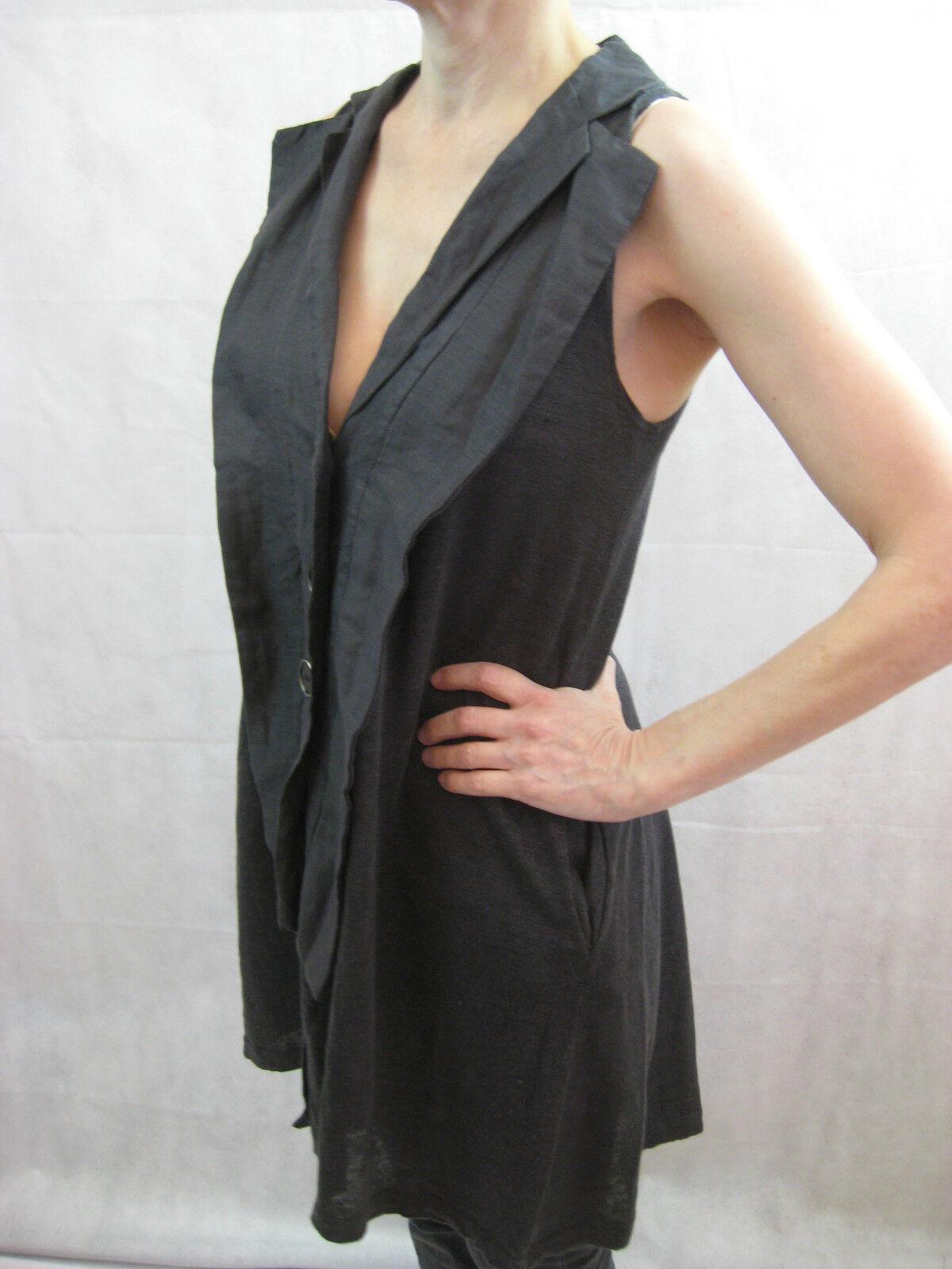 Essence Größe 12 Charcoal grau Linen Open Vest