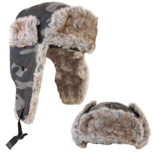 Image is loading MENS-CAMOUFLAGE-TRAPPER-HUNTING-HAT-FAKE-FUR-RIPSTOP- 69823539bdd
