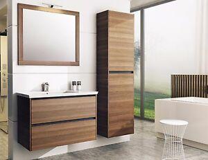 badm bel set etna 85 cm badset mit waschbecken keramik eiche borneo braun ebay. Black Bedroom Furniture Sets. Home Design Ideas