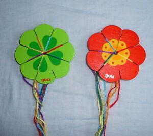 Holz-Knuepfklee-Strickklee-oder-Knuepfblume-Strickblume-mit-Wollfaeden-waehlbar