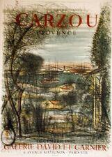"""""""EXPOSITION CARZOU / PROVENCE (1960)"""" Affiche originale entoilée Litho 52x71cm"""