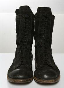 JULIUS Mens Back Zip Combat Boots Black