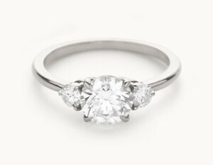 1.60 Ct Round Cut Real Moissanite Anniversary Ring 14K Solid White Gold Size 7