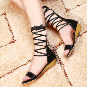 4fba3df13ff Womens Gladiator Lace Up Ankle Wrap Sandals Flat Summer Roman Shoes ...